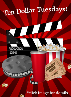 Get a movie, popcorn, and soda all for ten dollars!